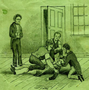 "Close up image from Astounding Disclosures cover includes a struggle between individuals inside the facility that Hunt calls a ""madhouse"" , the Maine Lunatic Asylum in August, Me. Courtesy www.disabilitymuseum.org"