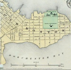 Historic Map of South Boston, 1885. Shows in highlighted area, House of Reformation, House of Correction, House of Industry, Lunatic Asylum locations. Perkins School for the Blind was close by. Courtesy, Perkins School for Blind Archives