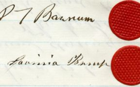 Signatures of P.T. Barnum, Lavinia Bump, both with modest red wax seals, 1861. Courtesy Barnum Museum